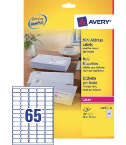 Avery ETIKET L7651-25 38.1X21.2 1625STKS