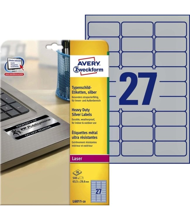 Avery ETIKET L6011-20 63.5X29.6 540STKS