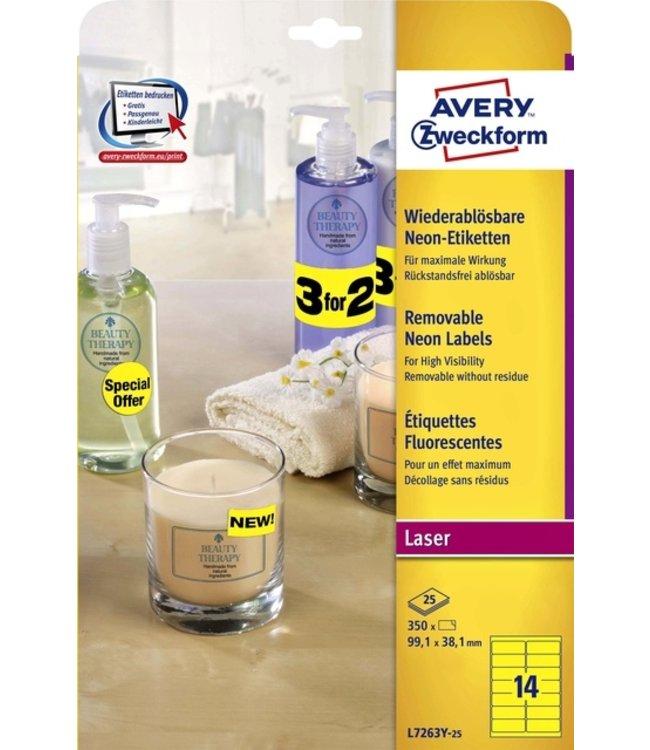 Avery ETIKET L7263Y-25 99.1X38.1 350STKS