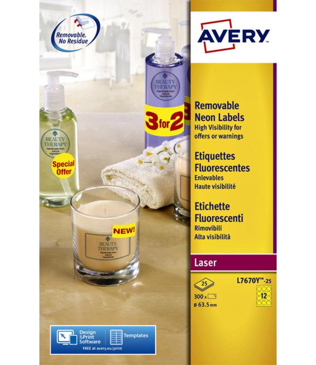 Avery ETIKET L7670Y-25 63.5 300STKS
