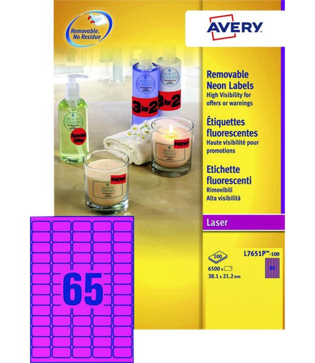 Avery ETIKET L7651PF 38.1X21.2 6500STKS