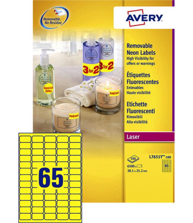 Avery ETIKET L7651Y 38.1X21.2 6500STKS