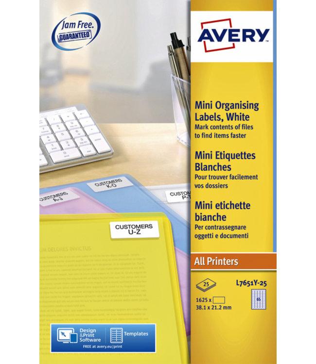 Avery ETIKET L7651Y-25 38.1X21.2 1625STKS