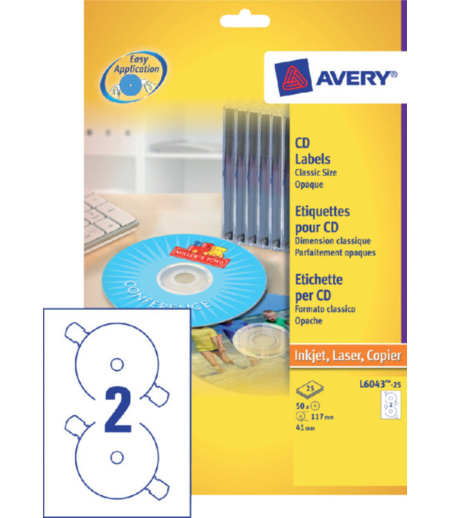 Avery Zweckform ETIKET CD L6043-100 200STKS