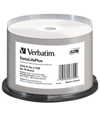 Verbatim DVD-R 4.7GB 16X PRINTABLE SP 50STKS