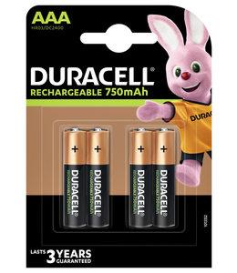 Duracell BATTERIJ OPLB AAA 750MAH 4STKS