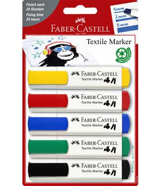 Faber Castell VILTSTIFT TEXTIEL ASS 5STKS
