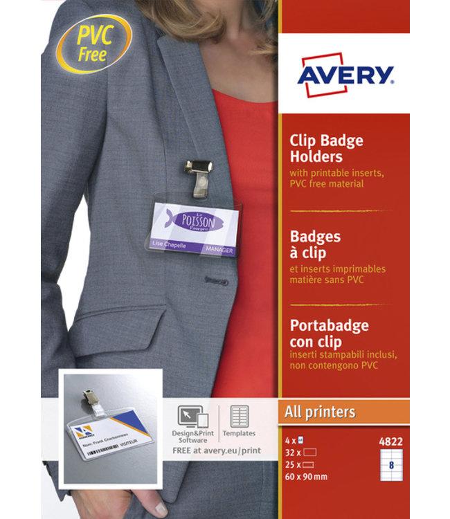 Avery BADGE 4822 CLIP 60X90MM 25STKS + 32KRT