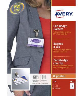 Avery BADGE 4822 CLIP 60X90MM INCL CLIP 25STKS