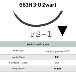 663H Ethilon® 3-0 Zwart, met FS-1 (24mm) naald