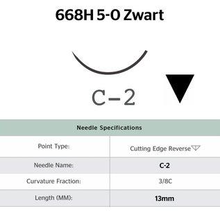 668H Ethilon® 5-0 Zwart met C-2 (13mm) naald