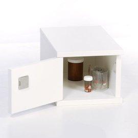 Opiatenkastje hout met cilinderslot - Kleur: Wit