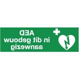 AED in dit gebouw aanwezig - spiegelbeeld - 30 x 10 cm