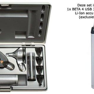 Heine BETA 400 LED FO + BETA 200 LED en BETA 4 USB 3.5V Li-Ion handvat zonder oplader