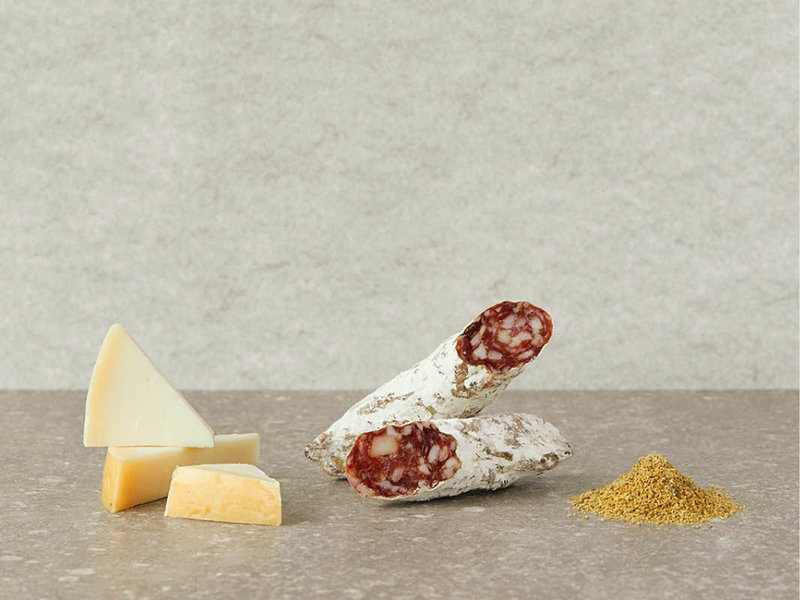 Brandt & Levie Cured sausage with goat cheese and wild fennel