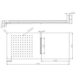 Luxe vierkante wand-hoofddouche+waterval 600x25 chr