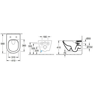 Villeroy & Boch Subway 2.0 hangend toilet diepspoel compact CeramicPlus Directflush AQUAREDUCT®, wit - 5606R0R1