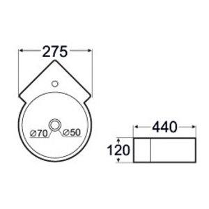 fontein  hoekfontein 440x275x125 wit  halfrond  300x250x120 zonder kr.gat wit