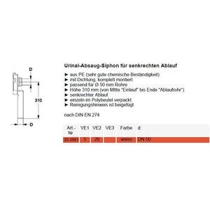 Urinoir-sifon afvoer vertikaal