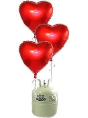Heliumfles met 10x Grote Rode Hartjes Ballonnen