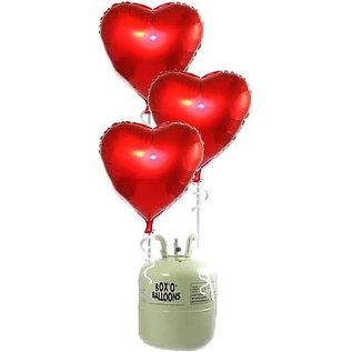 Heliumfles met 10x Grote Rode Hartjes Folieballonnen