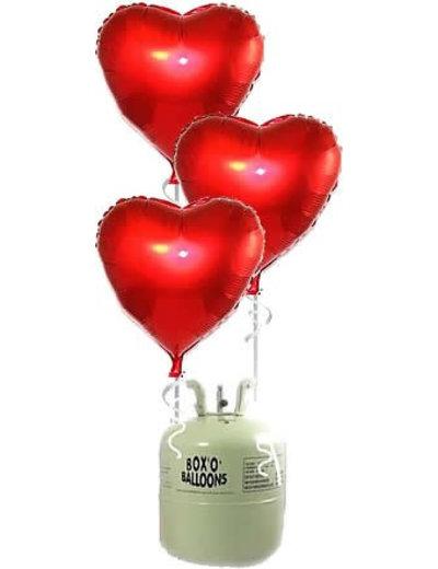 Helium Tank met 10x Grote Rode Folie Hartjes Ballonnen
