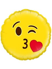 Emoticon Blow a Kiss Liefdes Helium Folieballon