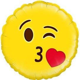 Emoticon Blow a Kiss Liefdes Helium Folieballon