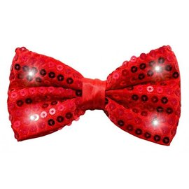 Rood Glitter Strikje met LED Lichtjes