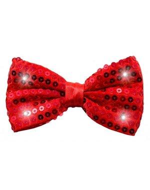 Strikje Glitter Rood met LED Lichtjes