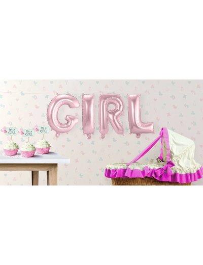 Baby Roze GIRL Supershape Folieballonnen