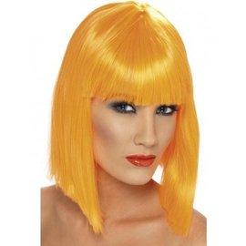 Halflange Oranje Glam Pruik