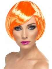 Oranje korte bob babe pruik