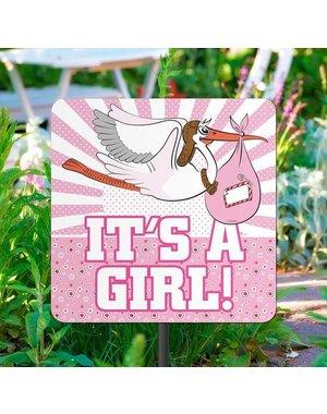 It's a Girl Geboorte Tuinbord