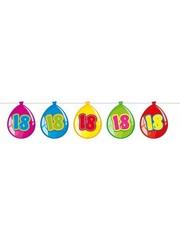 Gekleurde Nummer 18 Ballonnen Slinger