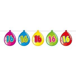 Gekleurde Nummer 16 Ballonnen Slinger