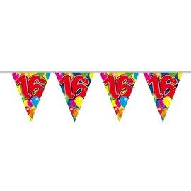 16e Verjaardag Vlaggenlijn Ballonnen Print