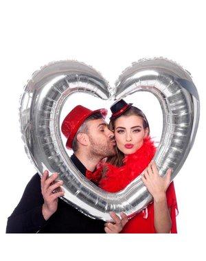 Folieballon Zilveren Fotolijst Hart