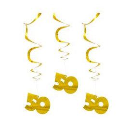 Gouden 50 jaar Swirl Decoratie