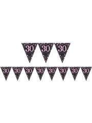 Zwart Roze Sparkling  30 Verjaardag Vlaggenlijn