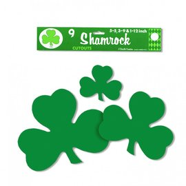 9x Shamrock St Patrick's Day Cut Outs
