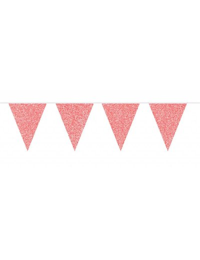 Roze Glitter Vlaggenlijn 6m