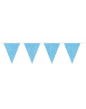 Blauwe Glitter Vlaggenlijn