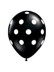 6x Zwarte Ballonnen met Witte Stippen