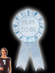 Blauwe Mum To Be Rosette Badge