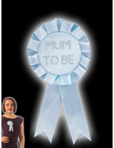 Blauwe Mum To Be Rosette Badge