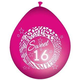 Roze Sweet 16 Ballonnen 8 stuks
