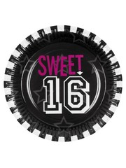 Zwarte Sweet 16 Weggooi Bordjes