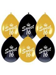 Zwart gouden Sweet 16 ballonnen