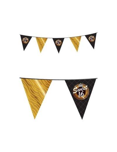 Zwart Gouden Sweet 16 Vlaggenlijn